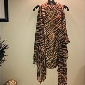 NWT Accents by Lavello chiffon animal print shrug